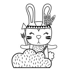 Line ethnic rabbit animal in back of bushes plant vector