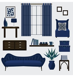 Living room furniture and accessories in navy blue vector