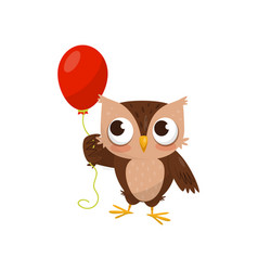 lovely little owlet standing with red ballooon vector image