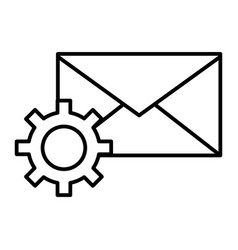 Mail settings thin line icon envelope and cog vector