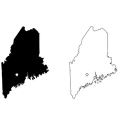 maine me state map usa with capital city star at vector image