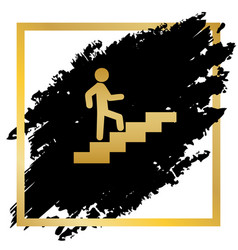 Man on stairs going up golden icon at vector