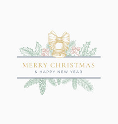 merry christmas greeting card or label frame vector image