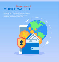 mobile phone wallet money transfer global payment vector image