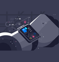 modern smart watch on male hand vector image