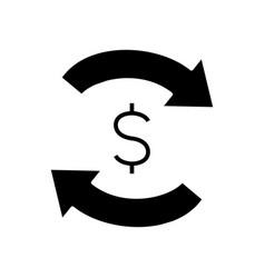 Monetary exchange black icon concept vector
