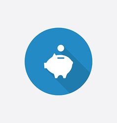 moneybox piggy Flat Blue Simple Icon with long vector image