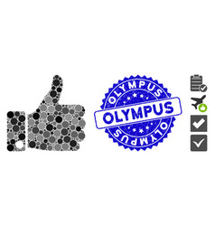 Mosaic thumb up icon with scratched olympus seal vector