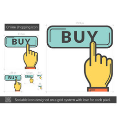 Online shopping line icon vector