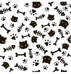 Paw seamless pattern animal footprints and bones vector