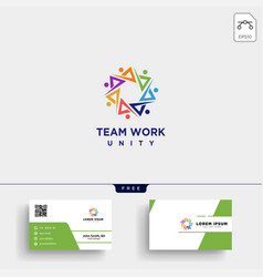 People community logo template and business card vector