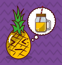Pineapple kawaii fruit with speech bubble vector