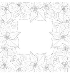 Poinsettia outline border vector