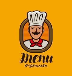 portrait happy chef in hat logo menu design vector image