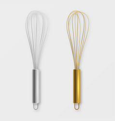 realistic 3d metal wire steel whisk icon vector image