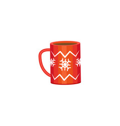 Red mug - cocoa coffee tea winter holiday icon vector