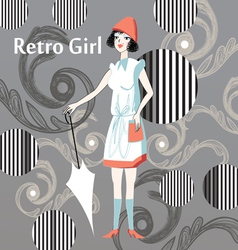 Retro girl vector