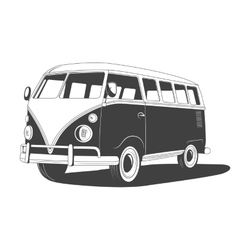 Retro travel bus with shadow side view vector