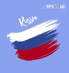 Russia flag brush strokes painted vector