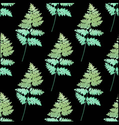 Seamless pattern watercolor ferns vector
