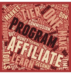 Second Tier Affiliates text background wordcloud vector image