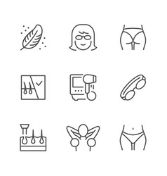 set line icons laser hair removal vector image