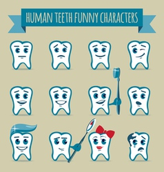 Set of human teeth funny characters vector