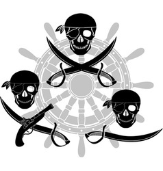 set of pirate signs stencils vector image