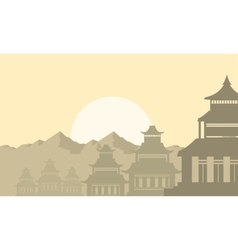 Silhouette lined pavilion on morning vector