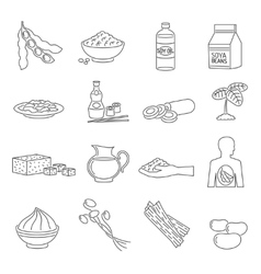 Soy food line set vector image