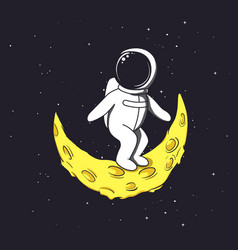 spaceman stands on crescent moon vector image