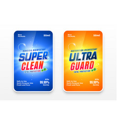 Super clean detergent labels set two vector