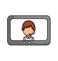 technology customer service operator online vector image