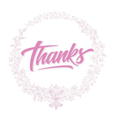 thanks card with floral background artwork vector image