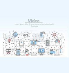 Thin line art video poster banner template vector
