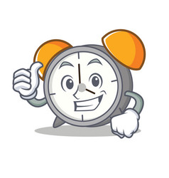 thumbs up alarm clock character cartoon vector image