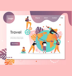 Travel website landing page design template vector