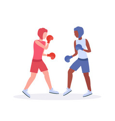 two boxers exercising thai boxing couple mix race vector image