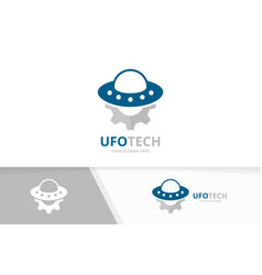 ufo and gear logo combination spaceship vector image