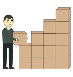 unloading of goods cartoon character vector image