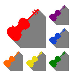 violine sign set of red orange vector image