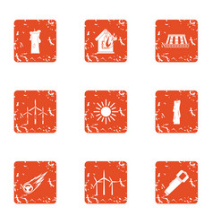 Warm house icons set grunge style vector