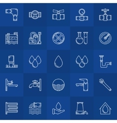 Water supply line icons vector image