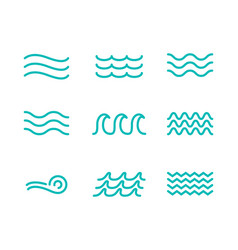 Wave line icon water sea flat ocean graphic vector