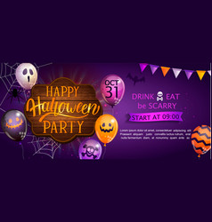 welcome banner for happy halloween party vector image