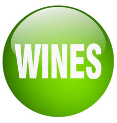 Wines green round gel isolated push button vector