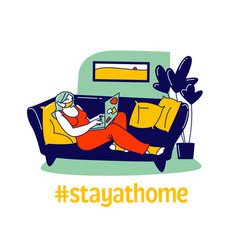 Woman in facial mask lying on couch at home vector
