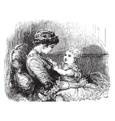 Woman with young child vintage vector