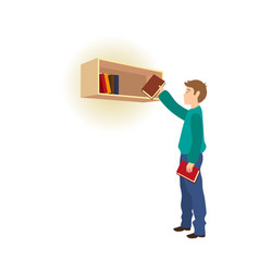 young man taking picking a book from bookshelf vector image