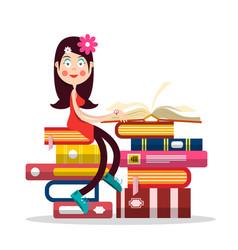 young pretty girl reading book girl cartoon vector image